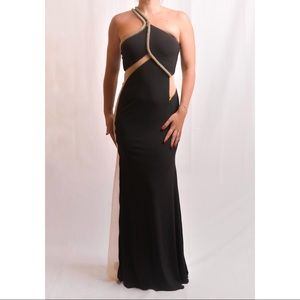 Black Jersey Gown with Sequin Detail
